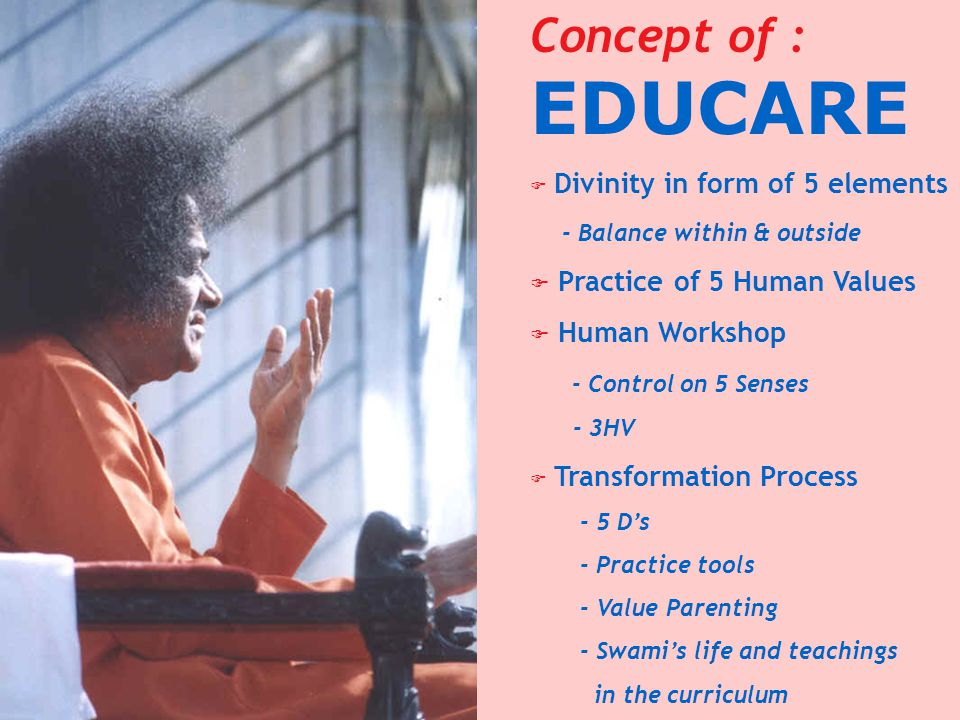 Concept of : EDUCARE F Divinity in form of 5 elements - Balance within & outside F Practice of 5 Human Values F Human Workshop - Control on 5 Senses -
