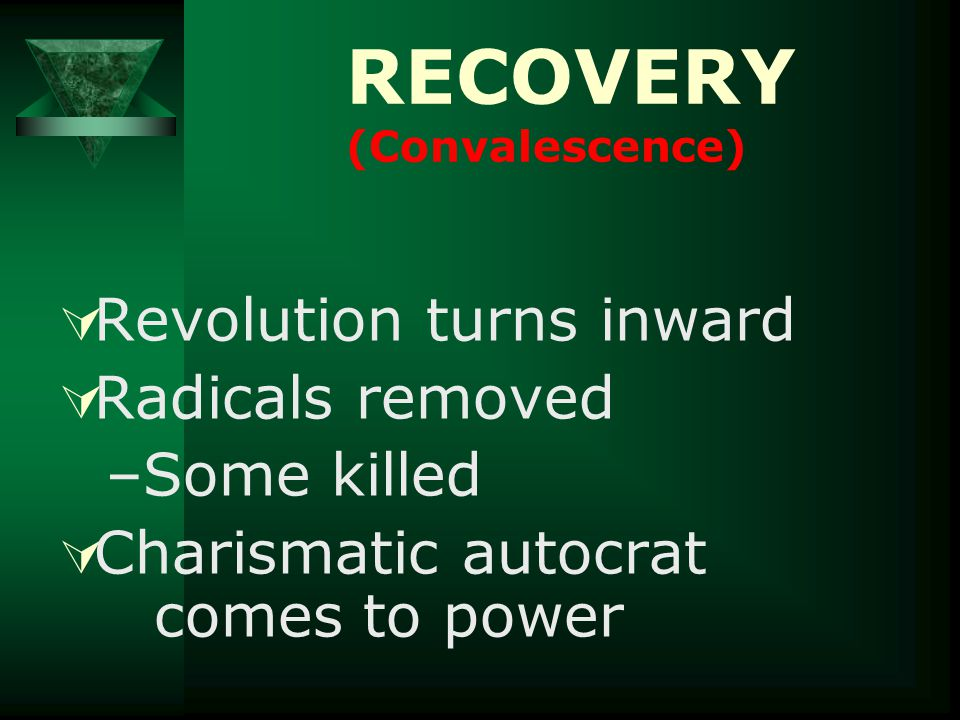 RECOVERY (Convalescence)  Revolution turns inward  Radicals removed –Some killed  Charismatic autocrat comes to power