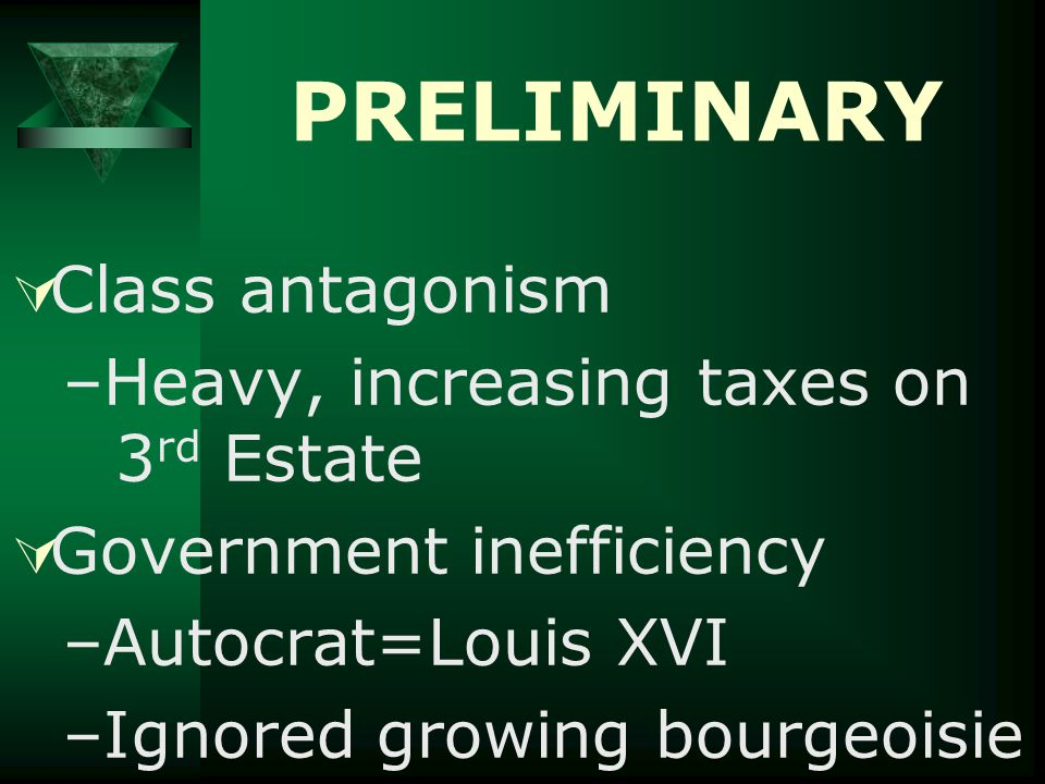 PRELIMINARY  Class antagonism –Heavy, increasing taxes on 3 rd Estate  Government inefficiency –Autocrat=Louis XVI –Ignored growing bourgeoisie