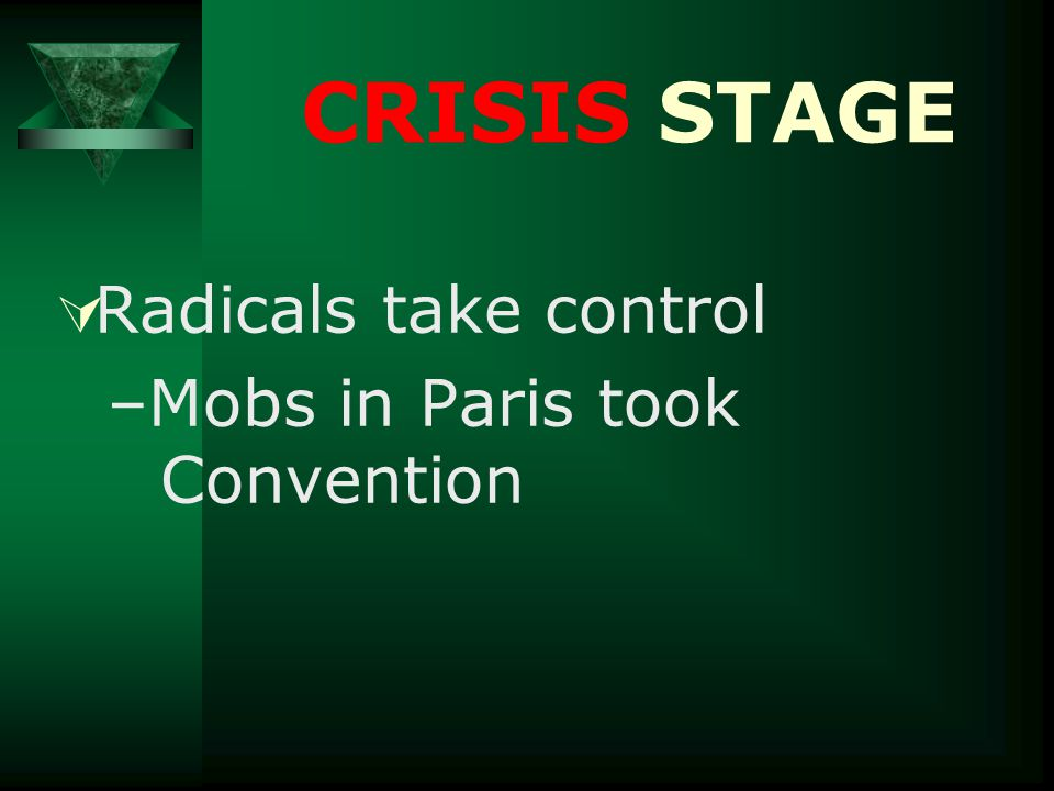 CRISIS STAGE  Radicals take control –Mobs in Paris took Convention