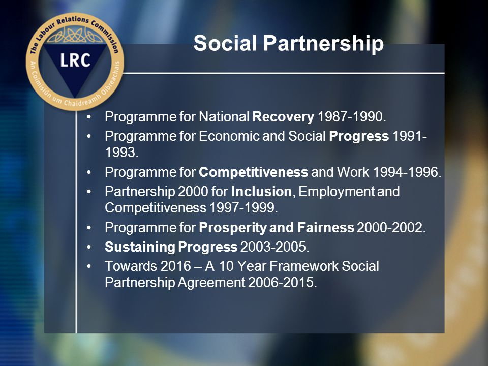 Social Partnership Programme for National Recovery 1987-1990.
