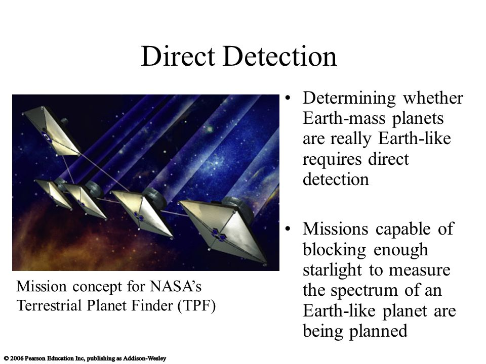 Direct Detection Determining whether Earth-mass planets are really Earth-like requires direct detection Missions capable of blocking enough starlight to measure the spectrum of an Earth-like planet are being planned Mission concept for NASA's Terrestrial Planet Finder (TPF)