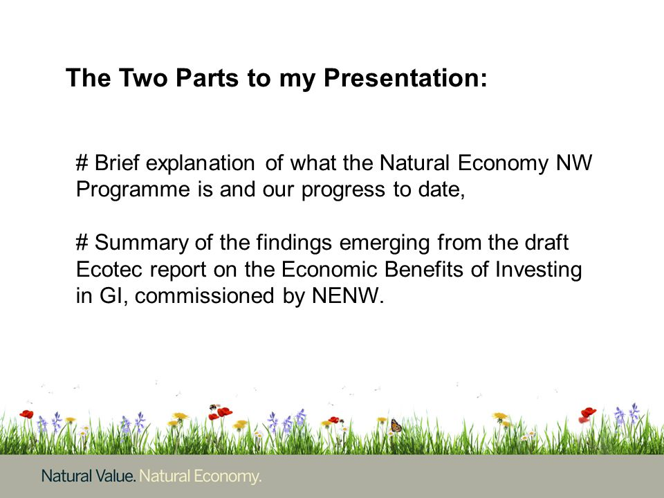 The Two Parts to my Presentation: # Brief explanation of what the Natural Economy NW Programme is and our progress to date, # Summary of the findings