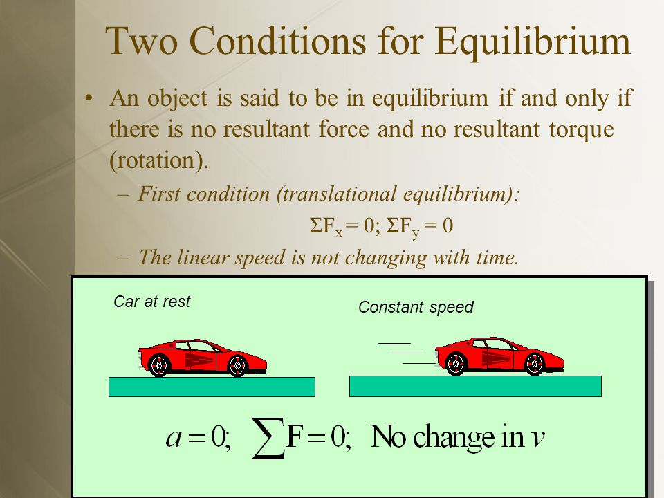 If an object is in equilibrium in two dimensions, the net force acting on it must be zero.