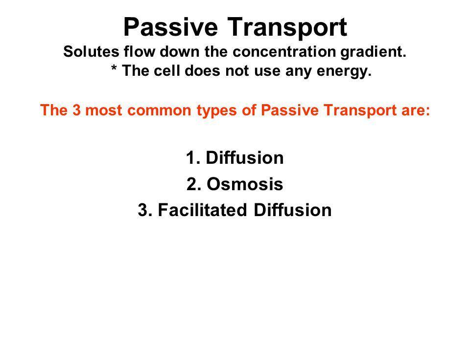 Passive Transport Solutes flow down the concentration gradient.