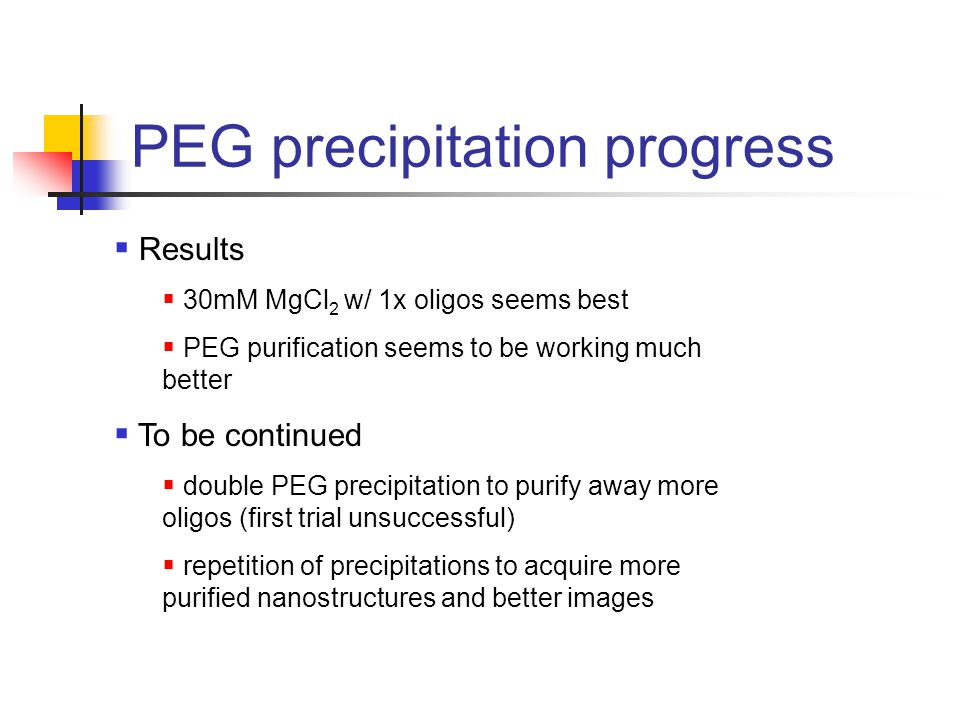 PEG precipitation progress  Results  30mM MgCl 2 w/ 1x oligos seems best  PEG purification seems to be working much better  To be continued  double PEG precipitation to purify away more oligos (first trial unsuccessful)  repetition of precipitations to acquire more purified nanostructures and better images