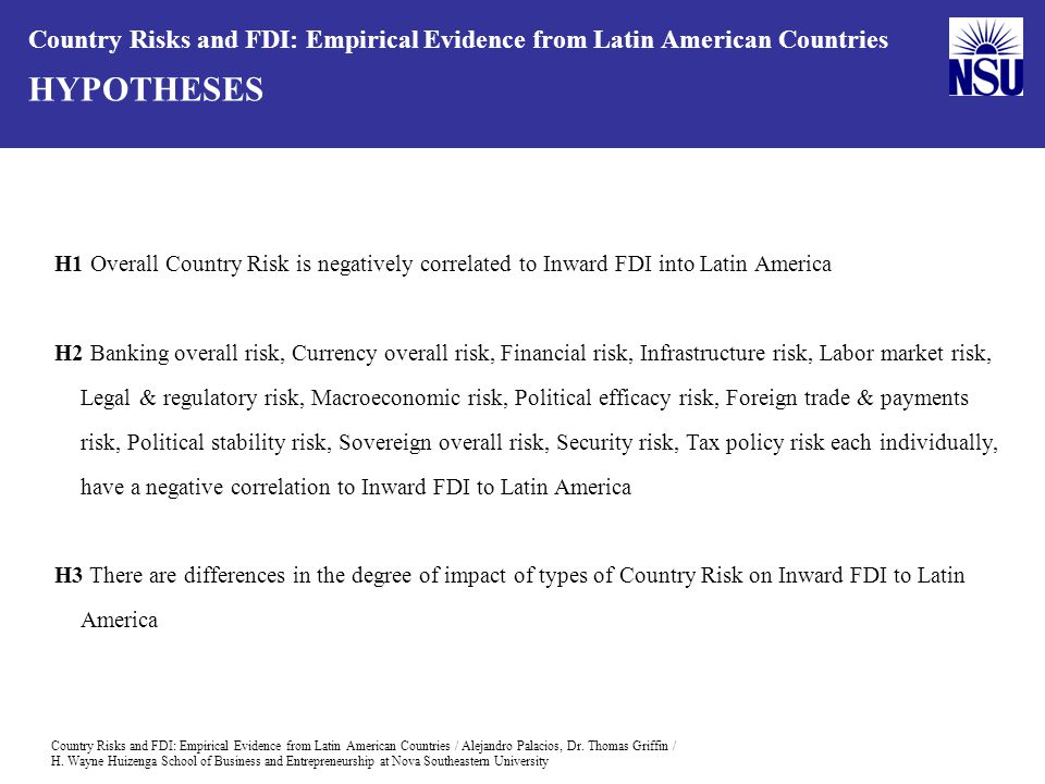 Country Risks and FDI: Empirical Evidence from Latin American Countries / Alejandro Palacios, Dr.