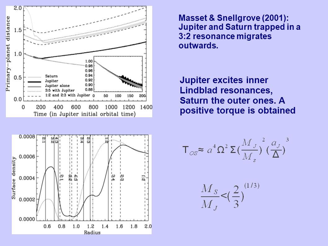 Masset & Snellgrove (2001): Jupiter and Saturn trapped in a 3:2 resonance migrates outwards. Jupiter excites inner Lindblad resonances, Saturn the out
