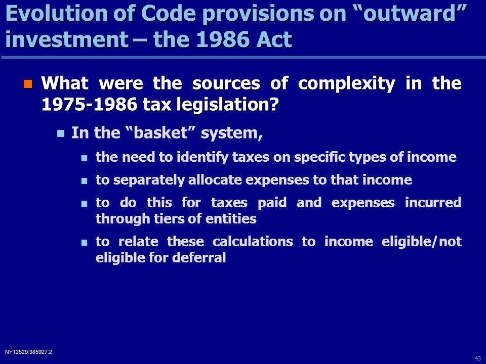 43 NY12529:385927.2 What were the sources of complexity in the 1975-1986 tax legislation.