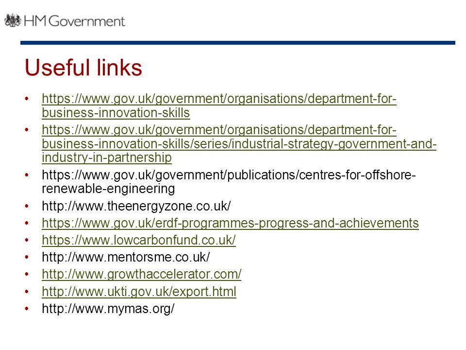 Useful links https://www.gov.uk/government/organisations/department-for- business-innovation-skillshttps://www.gov.uk/government/organisations/department-for- business-innovation-skills https://www.gov.uk/government/organisations/department-for- business-innovation-skills/series/industrial-strategy-government-and- industry-in-partnershiphttps://www.gov.uk/government/organisations/department-for- business-innovation-skills/series/industrial-strategy-government-and- industry-in-partnership https://www.gov.uk/government/publications/centres-for-offshore- renewable-engineering http://www.theenergyzone.co.uk/ https://www.gov.uk/erdf-programmes-progress-and-achievements https://www.lowcarbonfund.co.uk/ http://www.mentorsme.co.uk/ http://www.growthaccelerator.com/ http://www.ukti.gov.uk/export.html http://www.mymas.org/