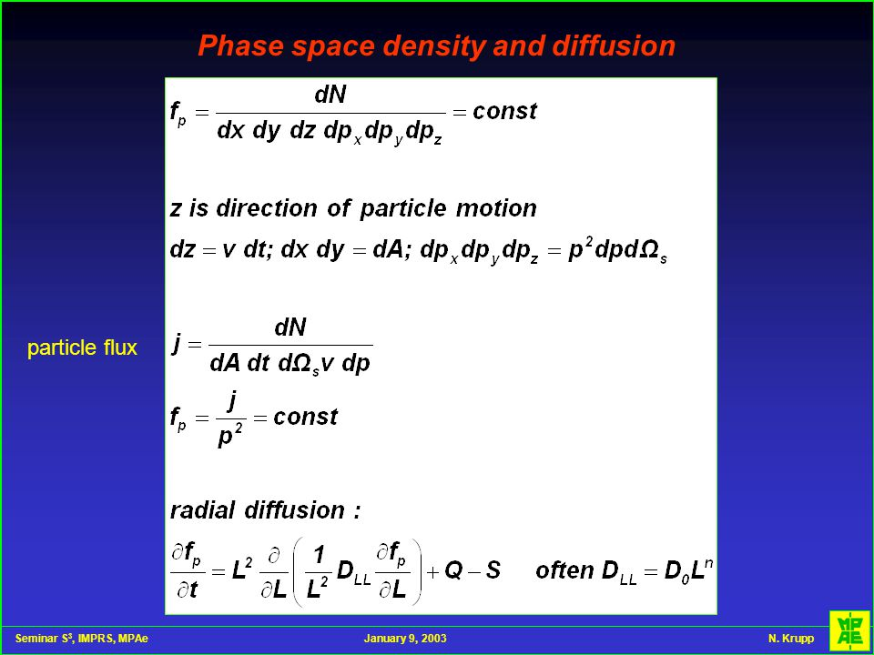Seminar S 3, IMPRS, MPAeJanuary 9, 2003 N. Krupp Phase space density and diffusion particle flux