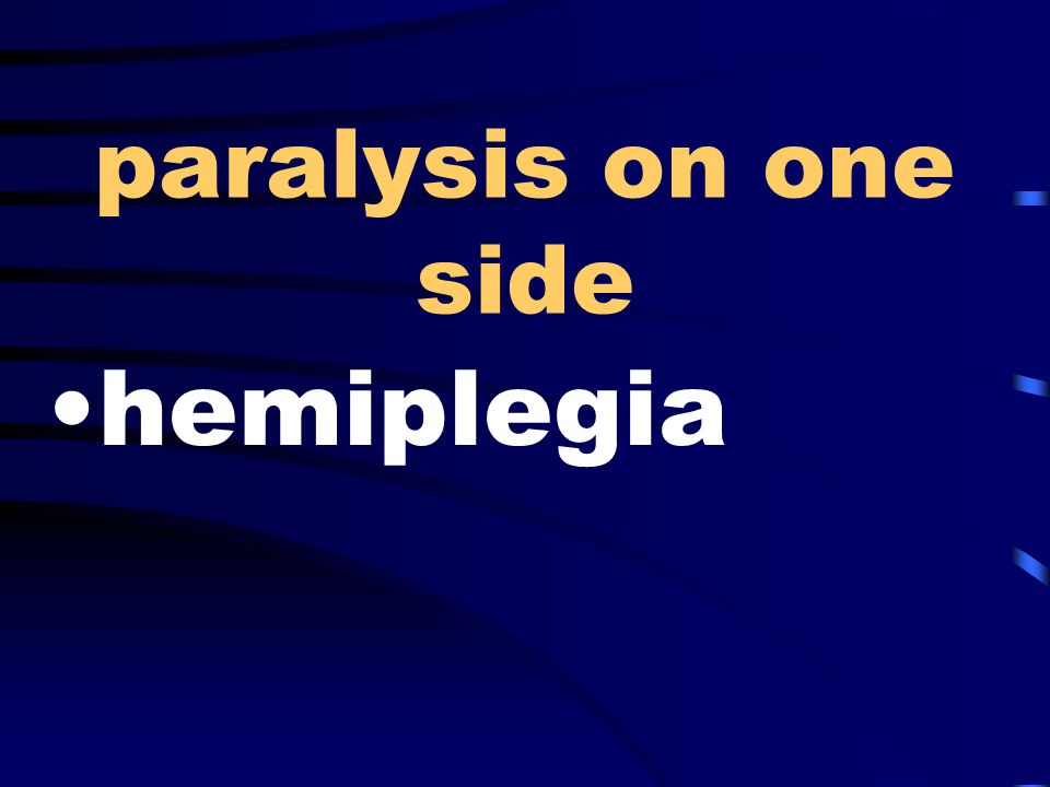 paralysis on one side hemiplegia