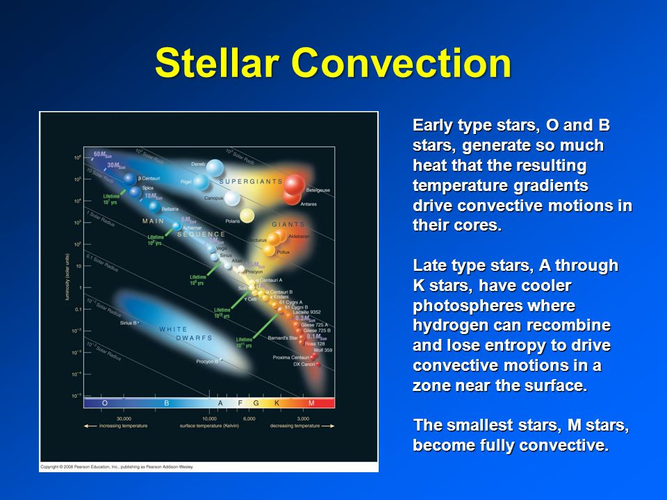 Stellar Convection Early type stars, O and B stars, generate so much heat that the resulting temperature gradients drive convective motions in their cores.