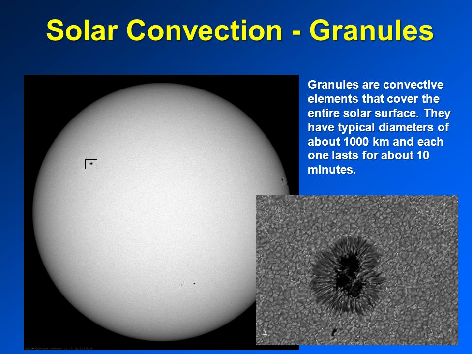 Solar Convection - Granules Granules are convective elements that cover the entire solar surface.