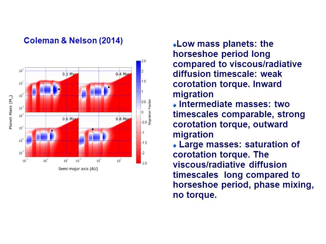 Coleman & Nelson (2014) Low mass planets: the horseshoe period long compared to viscous/radiative diffusion timescale: weak corotation torque.