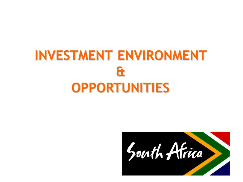 South Africa at a glance Area 1,219, 090 km 2 Population 48,7m (estimate) Currency R1 = 100 cents Time GMT + 2 hrs Head of the State: President Jacob Zuma 11 Official languages with English the business language Total GDP: 2008 R2 284bn (US$ 277bn) GDP 2008 per capita: R 46 507 (US$ 5 637 ) Real GDP Growth: 3,7% (2008) Inflation (CPIX): 11,5 % (annual 2008) average) Main Exports; minerals & mineral products, precious metals & metal products, chemical & food products, automotives & components.