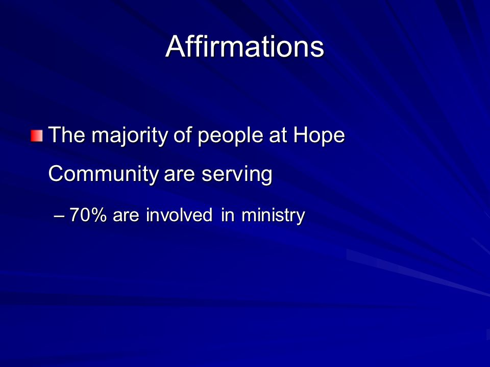 Affirmations The majority of people at Hope Community are serving –70% are involved in ministry