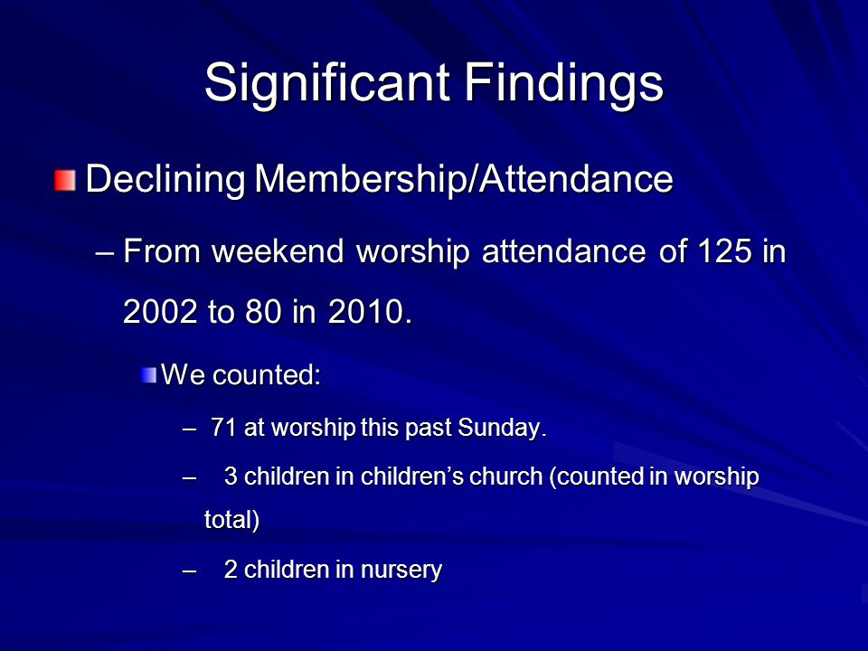 Declining Membership/Attendance –From weekend worship attendance of 125 in 2002 to 80 in 2010.