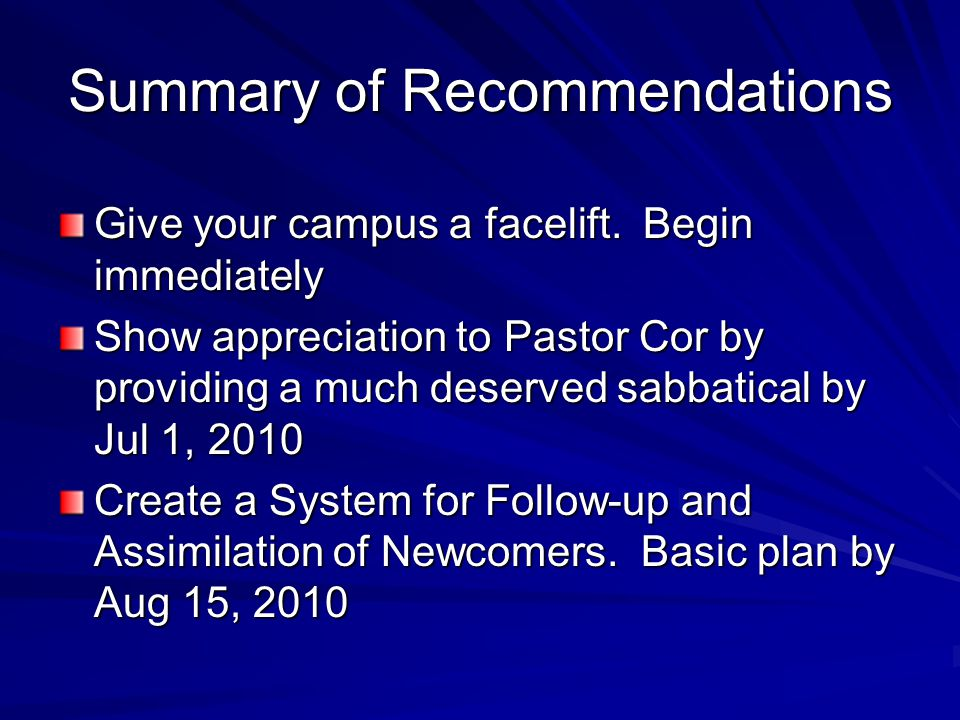 Summary of Recommendations Give your campus a facelift.