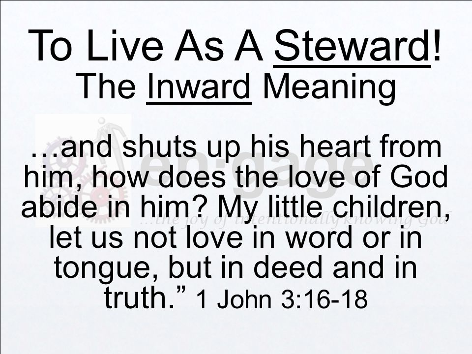 en·gage …the joy of intentionally knowing God To Live As A Steward.