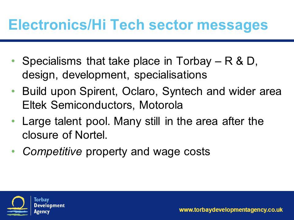 www.torbaydevelopmentagency.co.uk Electronics/Hi Tech sector messages Specialisms that take place in Torbay – R & D, design, development, specialisati