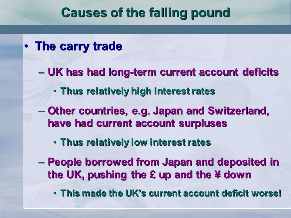 Causes of the falling pound The carry trade –UK has had long-term current account deficits Thus relatively high interest rates –Other countries, e.g.
