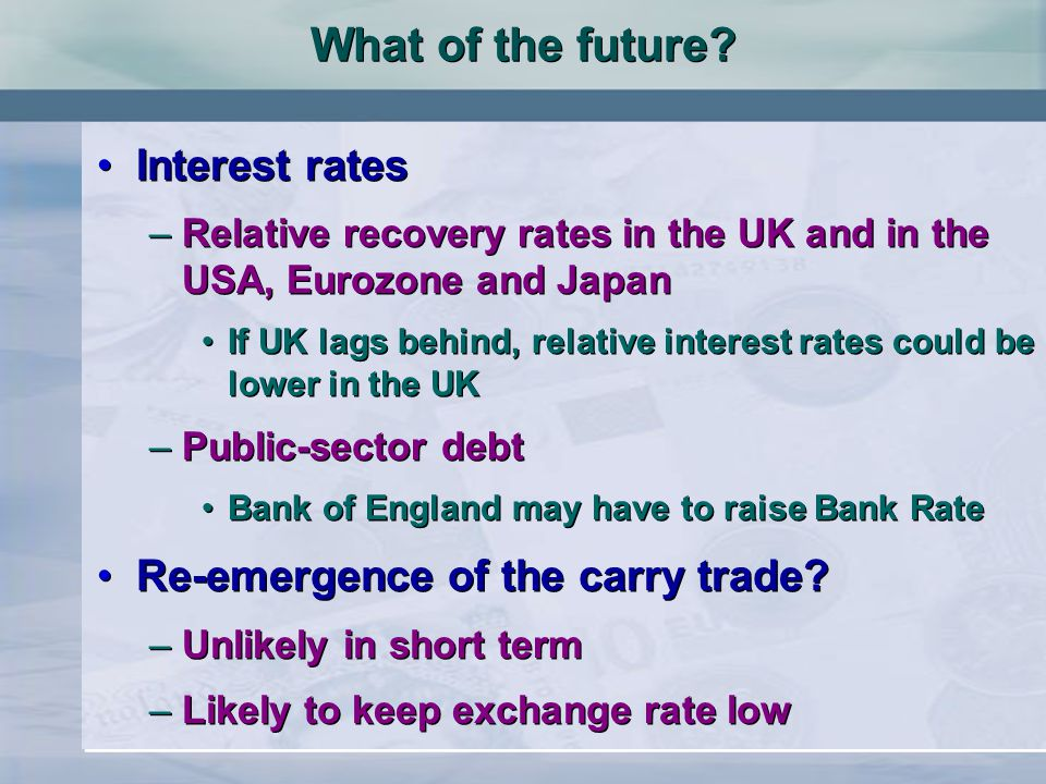 Interest rates –Relative recovery rates in the UK and in the USA, Eurozone and Japan If UK lags behind, relative interest rates could be lower in the UK –Public-sector debt Bank of England may have to raise Bank Rate Re-emergence of the carry trade.