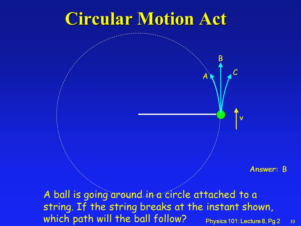 Physics 101: Lecture 8, Pg 2 A B C Answer: B v Circular Motion Act A ball is going around in a circle attached to a string.