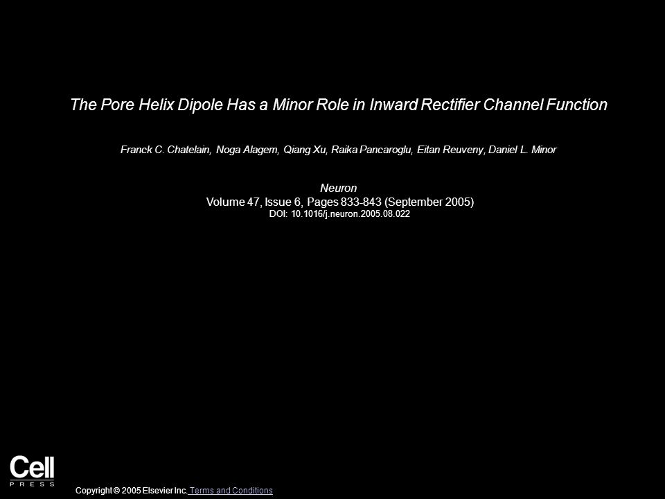 The Pore Helix Dipole Has a Minor Role in Inward Rectifier Channel Function Franck C.