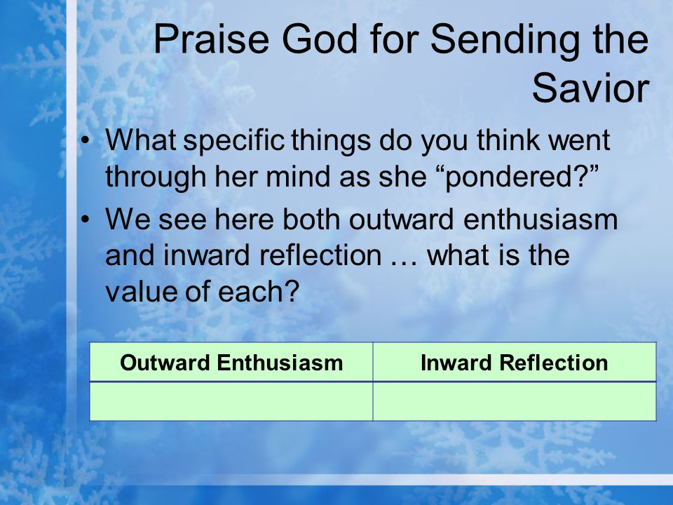 Praise God for Sending the Savior What specific things do you think went through her mind as she pondered? We see here both outward enthusiasm and inward reflection … what is the value of each.