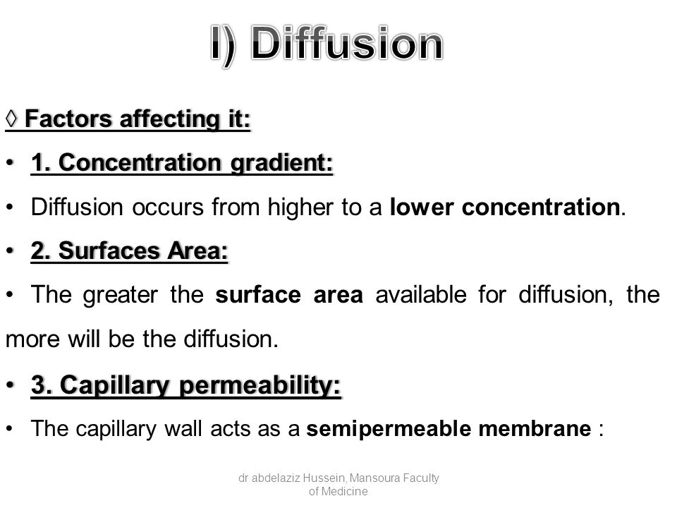 ◊ Factors affecting it: 1. Concentration gradient:1.