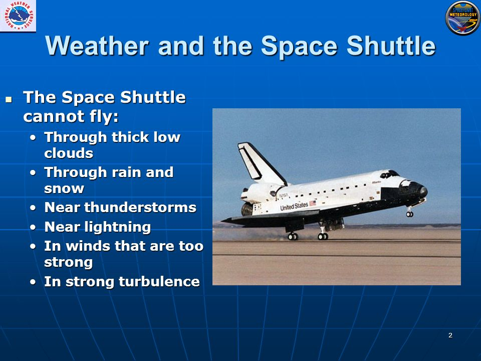 2 Weather and the Space Shuttle The Space Shuttle cannot fly: The Space Shuttle cannot fly: Through thick low cloudsThrough thick low clouds Through rain and snowThrough rain and snow Near thunderstormsNear thunderstorms Near lightningNear lightning In winds that are too strongIn winds that are too strong In strong turbulenceIn strong turbulence