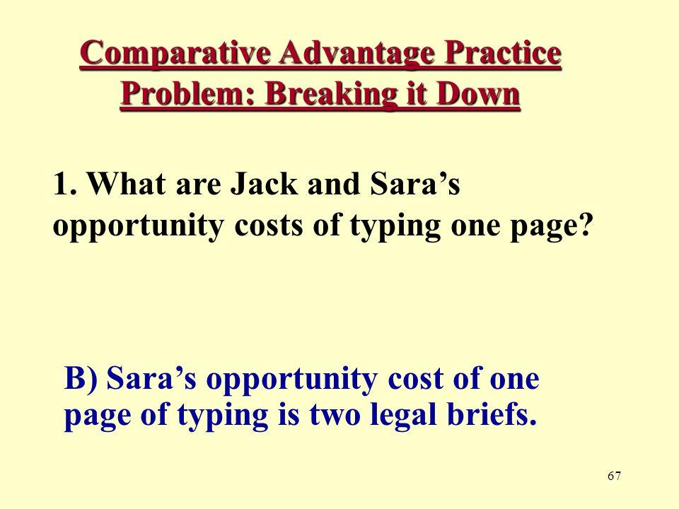 67 Comparative Advantage Practice Problem: Breaking it Down 1.