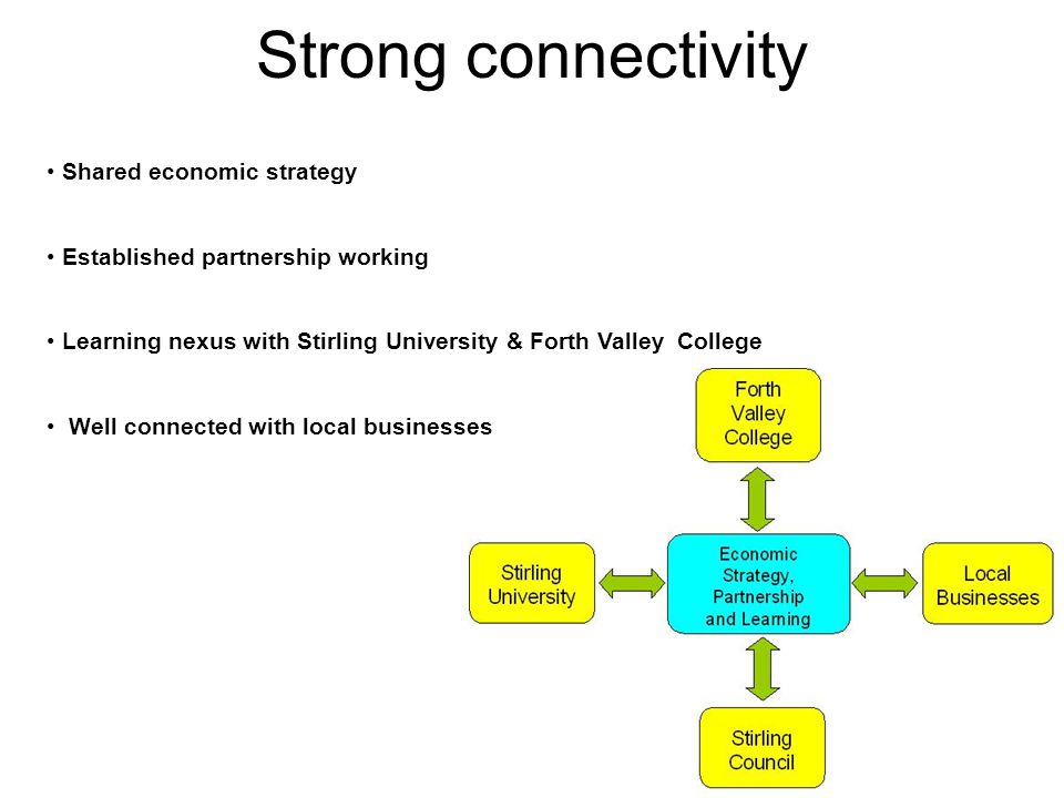 Strong connectivity Shared economic strategy Established partnership working Learning nexus with Stirling University & Forth Valley College Well connected with local businesses