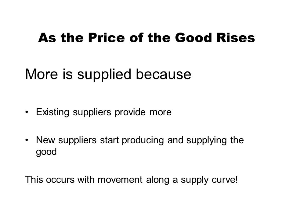 As the Price of the Good Rises More is supplied because Existing suppliers provide more New suppliers start producing and supplying the good This occurs with movement along a supply curve!