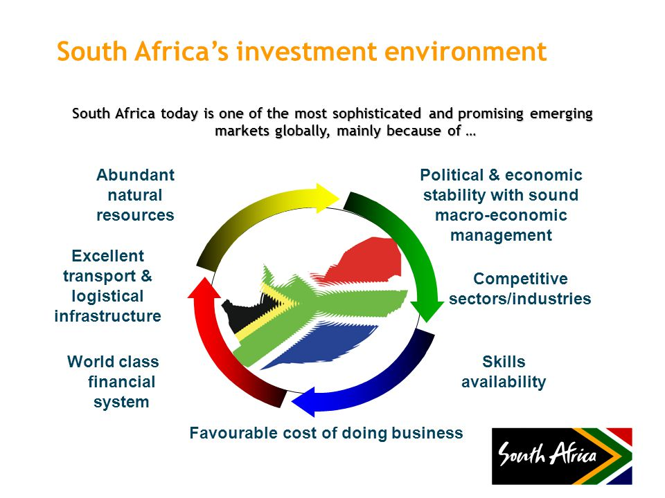 South Africa's investment environment South Africa today is one of the most sophisticated and promising emerging markets globally, mainly because of … Political & economic stability with sound macro-economic management Competitive sectors/industries Favourable cost of doing business Skills availability World class financial system Excellent transport & logistical infrastructure Abundant natural resources
