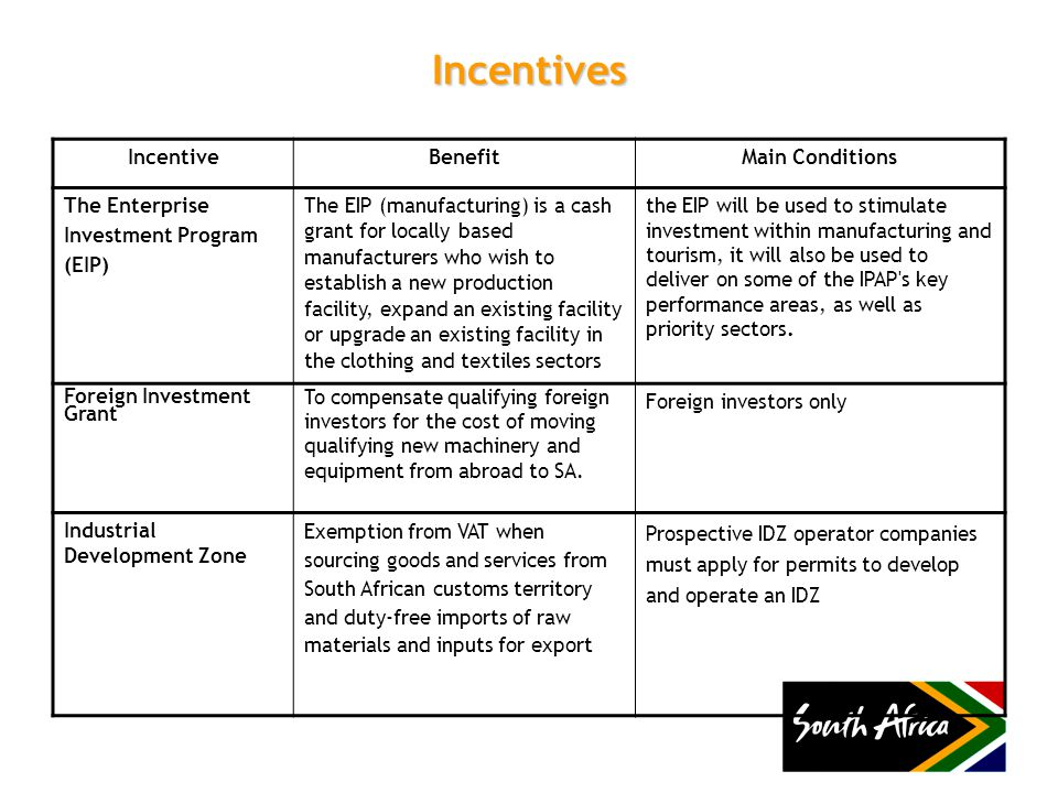 Incentives IncentiveBenefitMain Conditions The Enterprise Investment Program (EIP) The EIP (manufacturing) is a cash grant for locally based manufacturers who wish to establish a new production facility, expand an existing facility or upgrade an existing facility in the clothing and textiles sectors the EIP will be used to stimulate investment within manufacturing and tourism, it will also be used to deliver on some of the IPAP s key performance areas, as well as priority sectors.