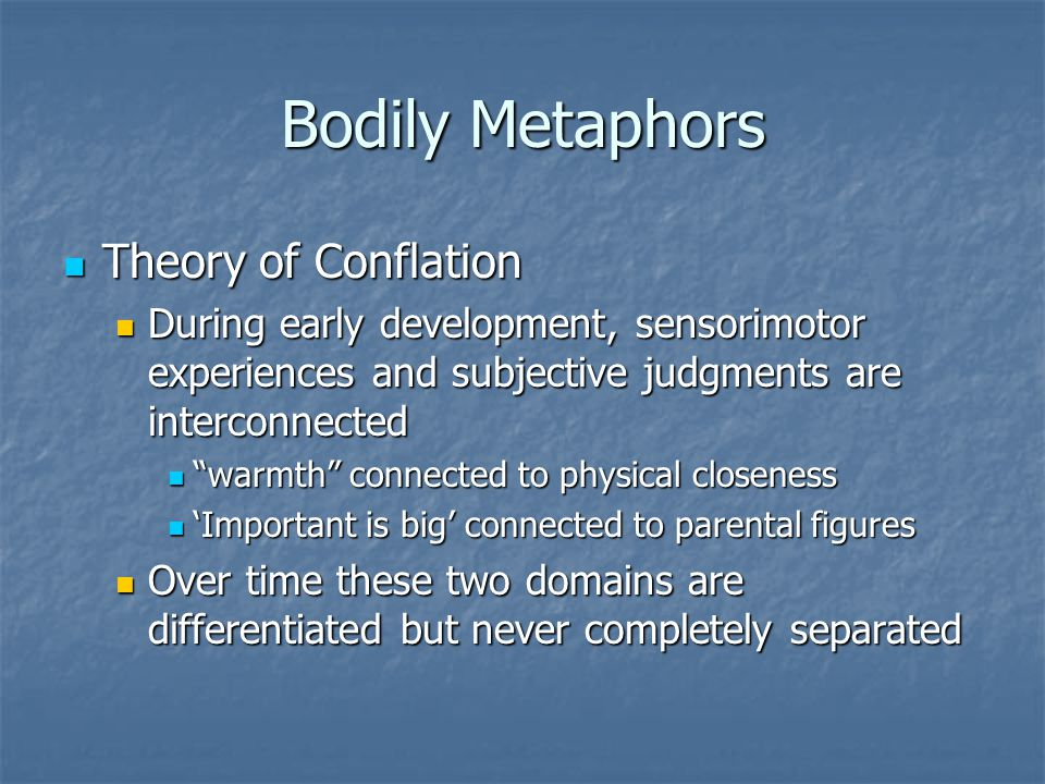 Bodily Metaphors Theory of Conflation Theory of Conflation During early development, sensorimotor experiences and subjective judgments are interconnec