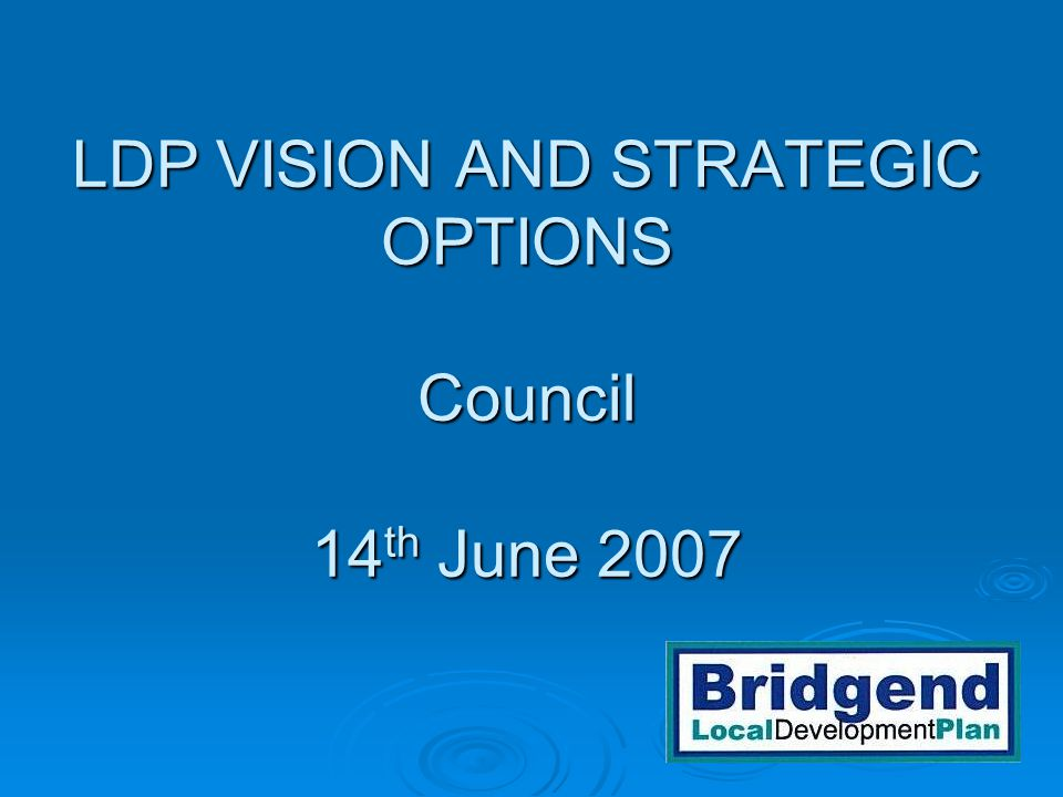 LDP VISION AND STRATEGIC OPTIONS Council 14 th June 2007