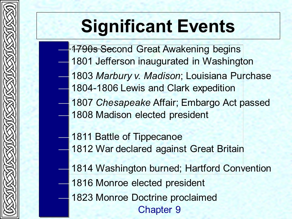  1790s Second Great Awakening begins Significant Events  1801 Jefferson inaugurated in Washington Chapter 9  1803 Marbury v.