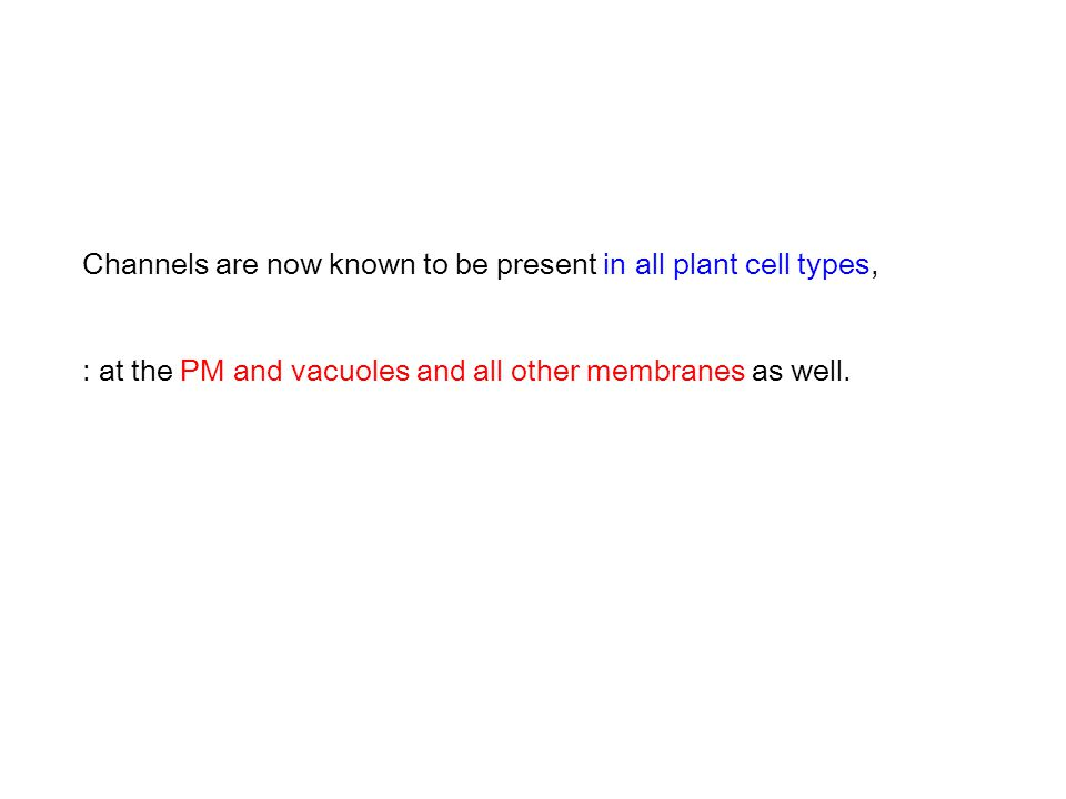 Channels are now known to be present in all plant cell types, : at the PM and vacuoles and all other membranes as well.