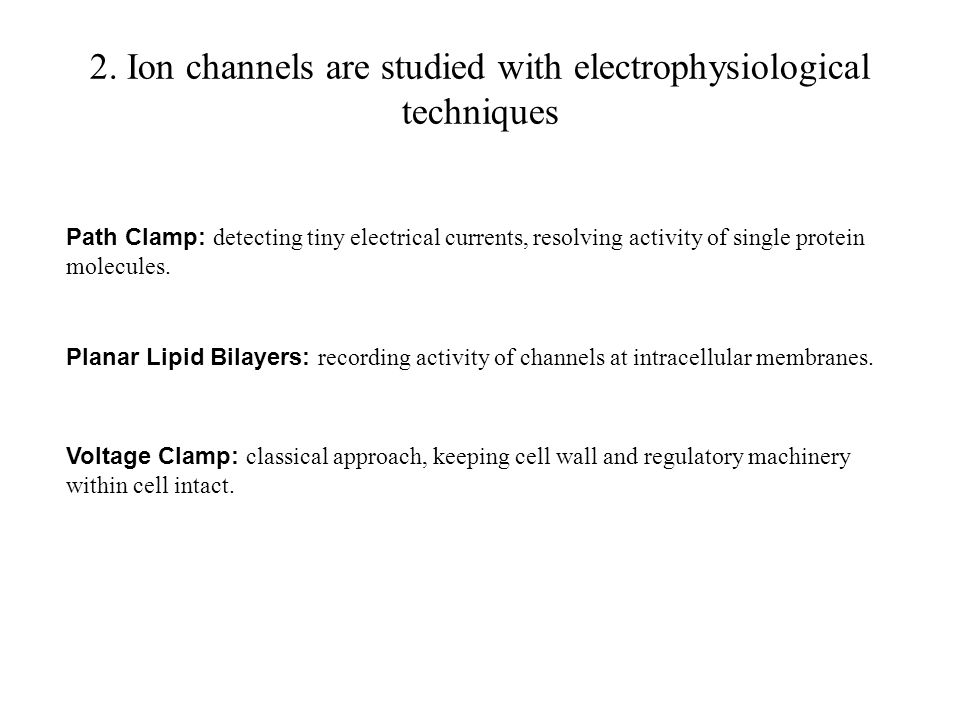 2. Ion channels are studied with electrophysiological techniques Planar Lipid Bilayers: recording activity of channels at intracellular membranes. Vol