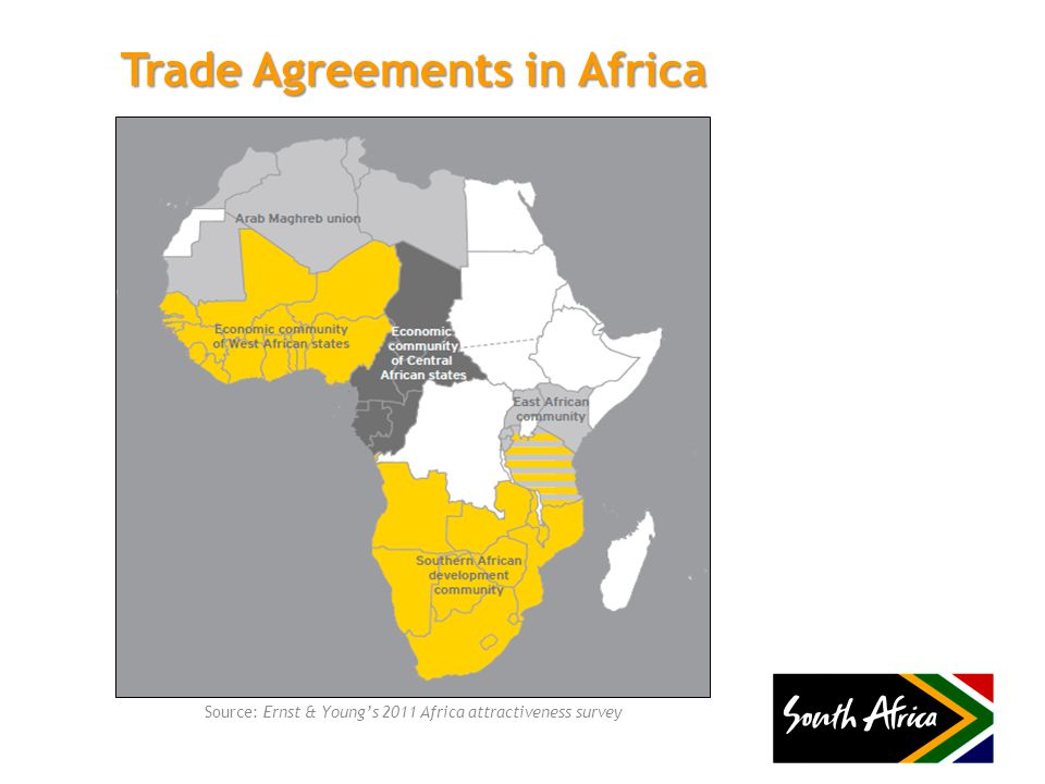 Trade Agreements in Africa Source: Ernst & Young's 2011 Africa attractiveness survey