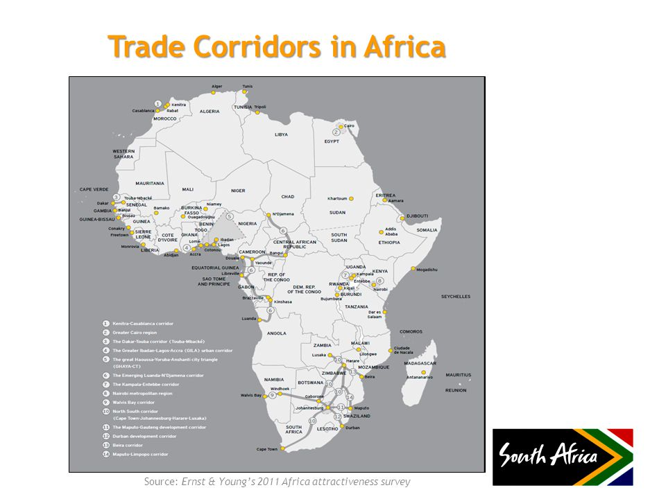 Trade Corridors in Africa Source: Ernst & Young's 2011 Africa attractiveness survey