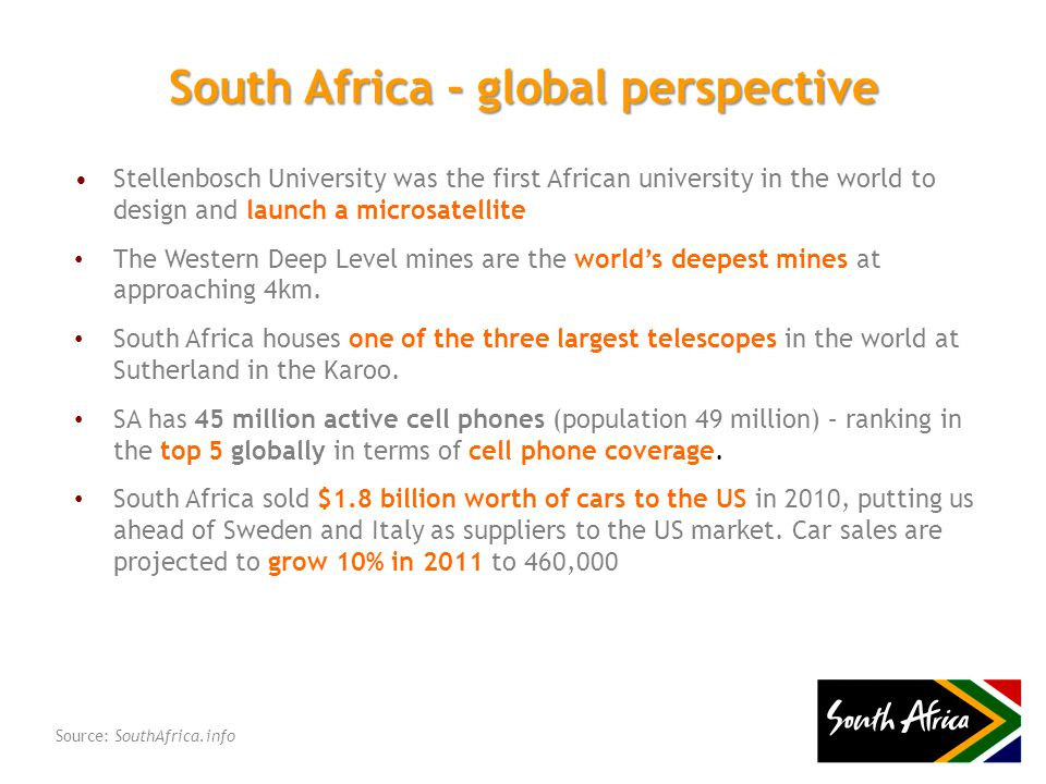 Stellenbosch University was the first African university in the world to design and launch a microsatellite The Western Deep Level mines are the world's deepest mines at approaching 4km.