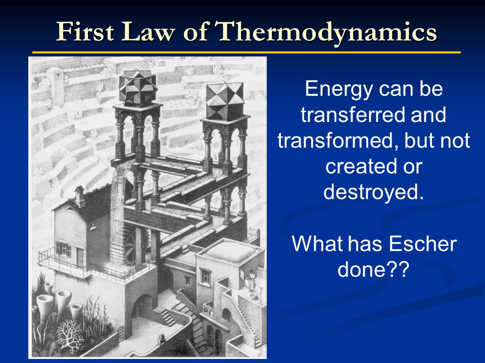 First Law of Thermodynamics Energy can be transferred and transformed, but not created or destroyed.