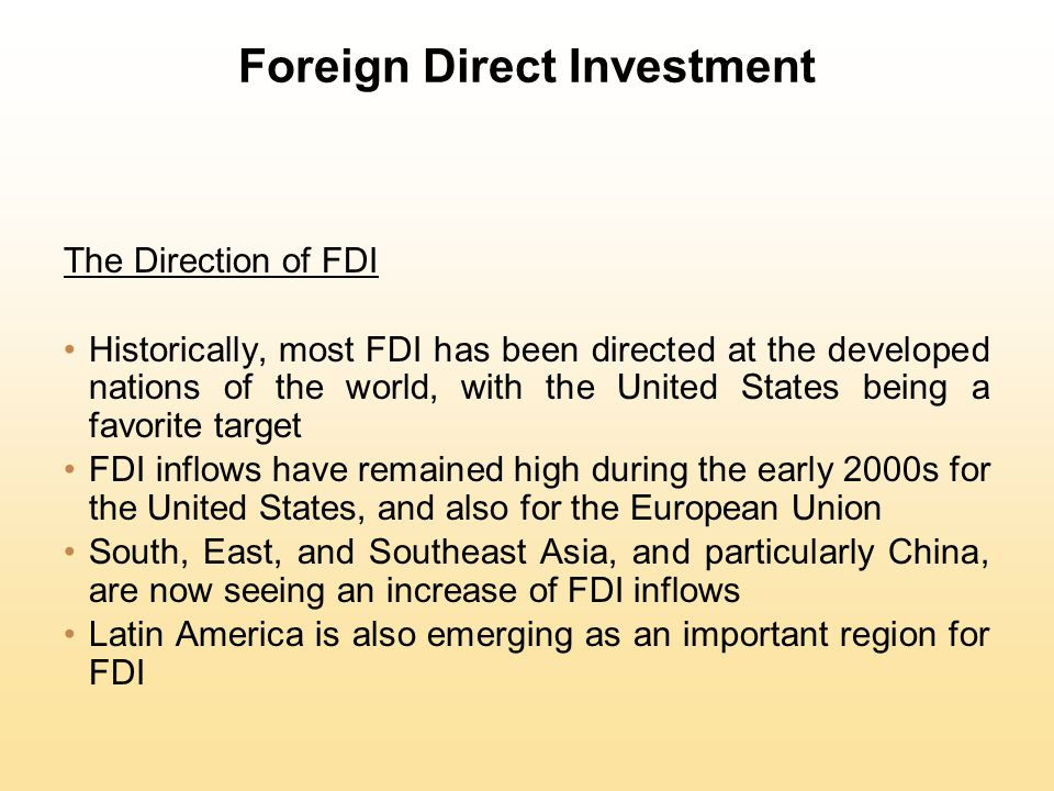 Foreign Direct Investment Strategic Behavior Knickerbocker looked at the relationship between FDI and rivalry in oligopolistic industries (industries composed of a limited number of large firms) and suggested that FDI flows are a reflection of strategic rivalry between firms in the global marketplace The theory can be extended to embrace the concept of multipoint competition (when two or more enterprises encounter each other in different regional markets, national markets, or industries)