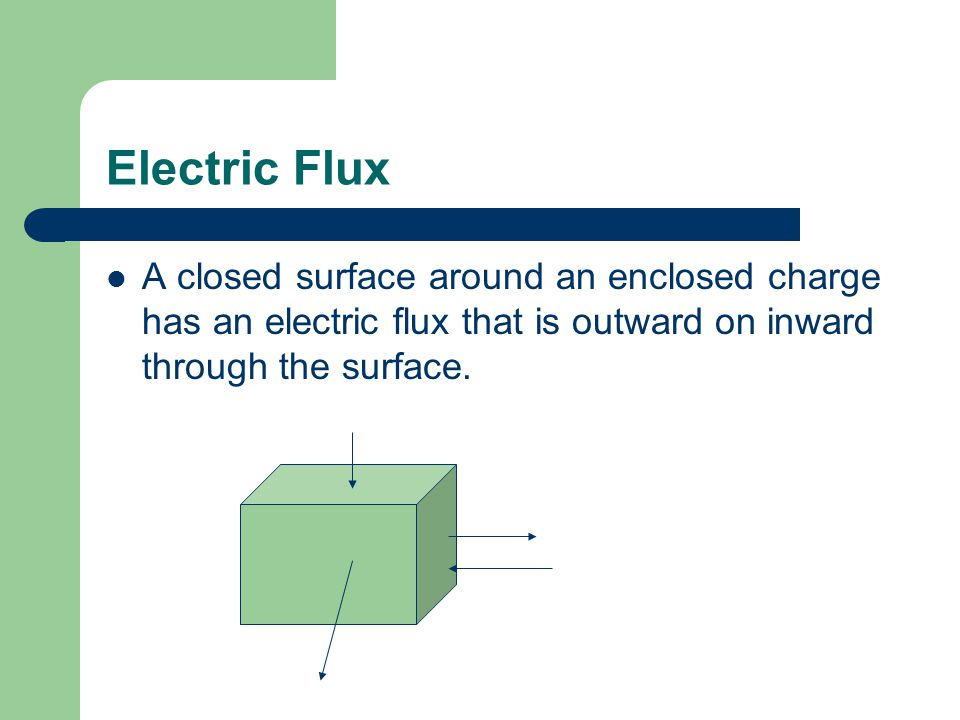 Electric Flux A closed surface around an enclosed charge has an electric flux that is outward on inward through the surface.