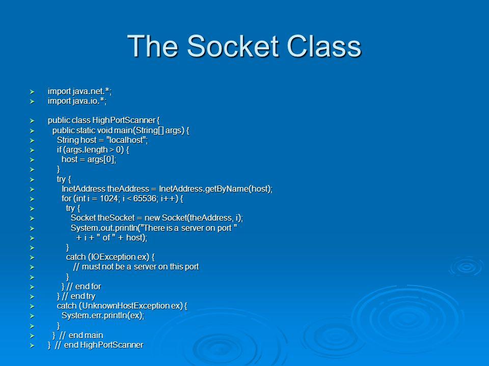 public Socket(String host, int port, InetAddress interface, int localPort)  try {  InetAddress inward = InetAddress.getByName( router );  Socket socket = new Socket( mail , 25, inward, 0);  // work with the sockets...