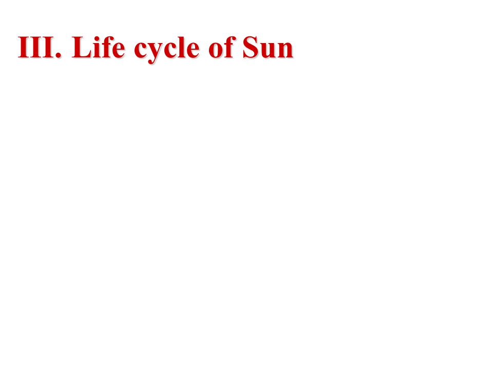 III. Life cycle of Sun